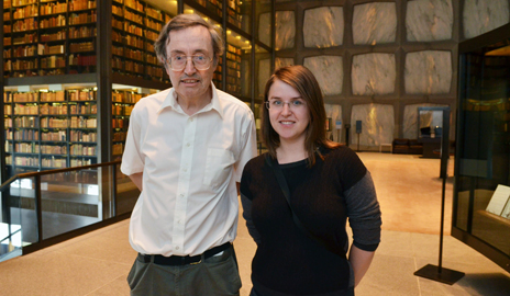 Chemistry professor Robert Crabtree at the Yale Postdoctoral Mentoring Award ceremony with Oana Luca Ph.D. '13, who worked in his laboratory for five years.